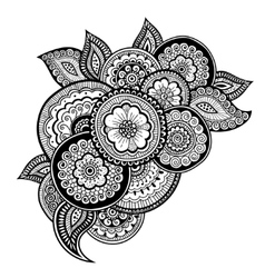 Zen-tangle floral pattern Mehndi style vector image