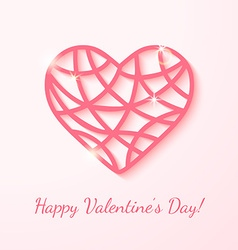 Applique card with pink heart vector image vector image