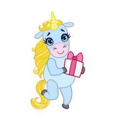 cartoon light blue unicorn standing with gift box vector image