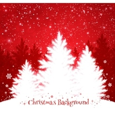 Christmas trees red and white background vector image