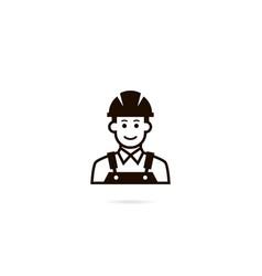 industrial worker icon a man in a helmet vector image vector image