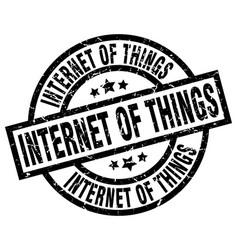 internet of things round grunge black stamp vector image