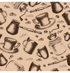 Seamless coffee pattern for design vector image vector image