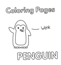 cartoon penguin coloring book vector image vector image