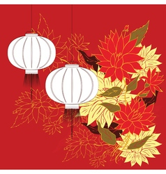 Chinese Lantern with Flowers3 vector image vector image