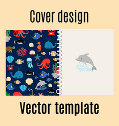 cover design with sea pattern vector image vector image