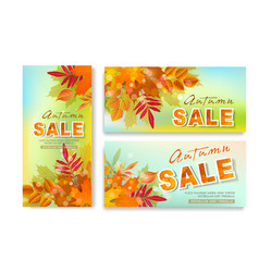 set with seasonal discounts autumn leaves sale vector image vector image