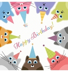 Birthday card with cute colorful cats vector image
