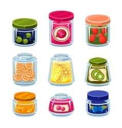 Canned Fruit and Vegetables in Cans vector image vector image