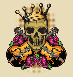 color poster template with guitar skull and rose vector image vector image