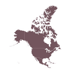 Detailed map of north america continent vector
