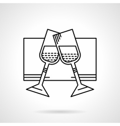 Glasses of champagne black flat line icon vector image