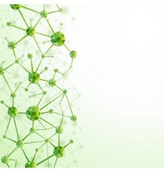 Green molecules background vector image