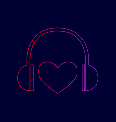 headphones with heart line icon with vector image vector image