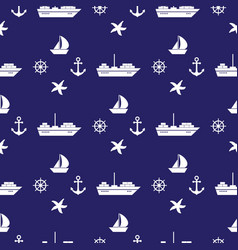 seamless pattern with sea symboles marine vector image