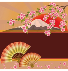 Background with fan mountain and sakura blossom vector image vector image