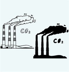 Emission from coal power plant vector image vector image