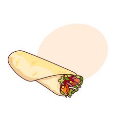 fast food roll shawarma taco vector image