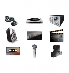 music audio icon set vector image