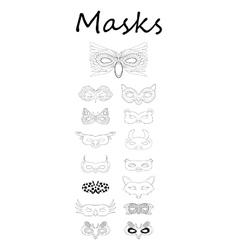 Set of line drawing masks vector image