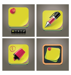 sticky note icon set vector image vector image
