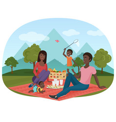 The of cheerful african family vector