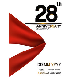 28 anniversary design with big red ribbon vector