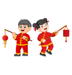 A happy children holding a chinese paper lantern vector