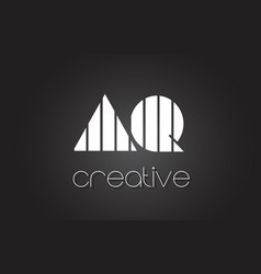 Aq a q letter logo design with white and black vector
