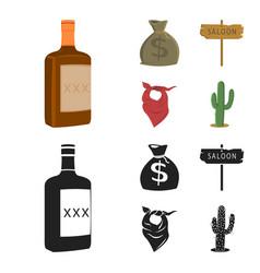bag of money saloon cowboy kerchief cactus vector image
