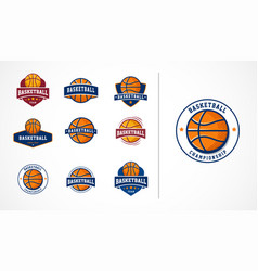 basketball logo emblem icons collections vector image