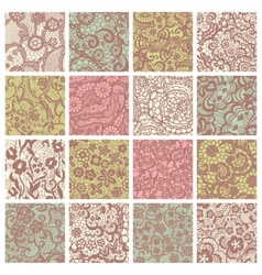 Big collection of floral lacy patterns vector