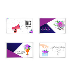 Black friday set colorful cards for discounts vector