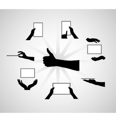 Black Set of Hand and Digital Tablet Computer vector