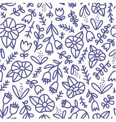 blue doodle floral pattern vector image