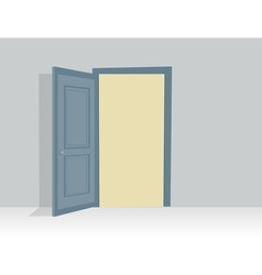 Blue opened door in with shadow vector image