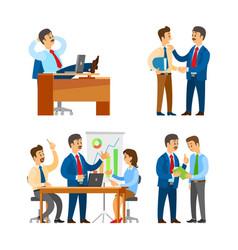 Boss praising worker seminar team brainstorming vector