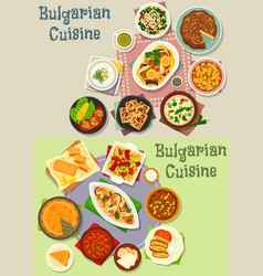 bulgarian cuisine lunch dishes icon set design vector image