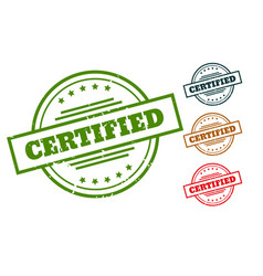 certified rubber stamp seals for approved products vector image