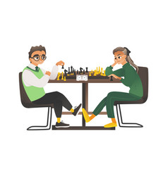 children a boy and a girl with glasses sit vector image
