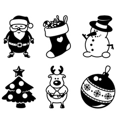 christmas silhouette icons vector image