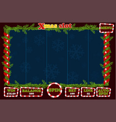 christmas slot game ui interface and buttons vector image