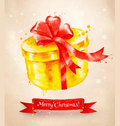 Christmas vintage postcard with giftbox vector