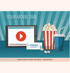 cinema poster with tablet popcorn bowl tickets vector image