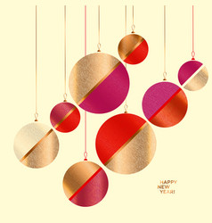 Classic red and gold elegant xmas balls vector