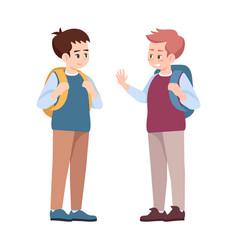 Classmates saying goodbye flat schoolmates vector