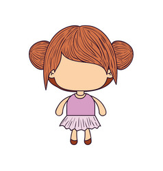 Colorful caricature of faceless little girl with vector