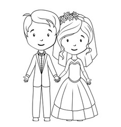 Coloring book cartoon groom and bride vector