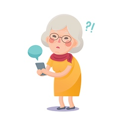Confused Grandma Using Smart Phone vector image