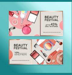 Cosmetic voucher design with lip tint eyelash vector